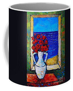 Abstract Poppies By The Sea Coffee Mug