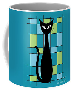 Abstract With Cat In Teal Coffee Mug