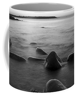 Acadia National Park Shoreline Sunrise Wakeup Black And White Coffee Mug
