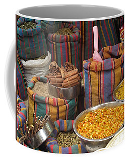 Coffee Mug featuring the photograph Acco Acre Israel Shuk Market Spices Stripes Bags by Paul Fearn