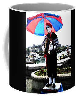Coffee Mug featuring the digital art Accordion Mime by David Blank