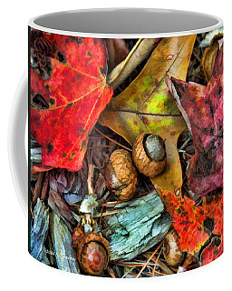 Coffee Mug featuring the photograph Acorns And Leaves by Kenny Francis