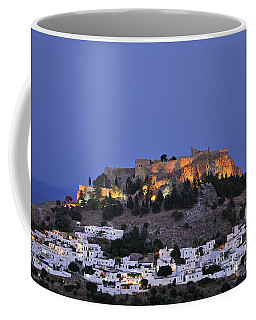 Acropolis And Village Of Lindos During Dusk Time Coffee Mug