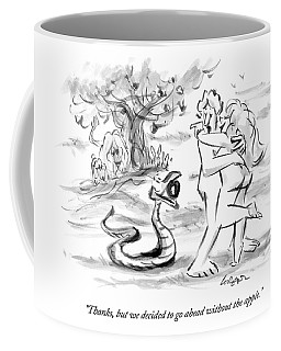 Adam And Eve Embrace In The Garden Of Eden Coffee Mug