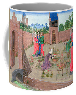 Add 19720 Fol.214 Walled Garden With A Woman Gardening And Others Gossiping, From Livre Des Coffee Mug