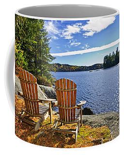 Adirondack Chairs At Lake Shore Coffee Mug