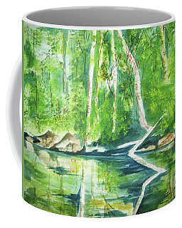 Coffee Mug featuring the painting Adirondack Zen by Ellen Levinson