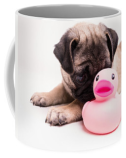 Adorable Pug Puppy With Pink Rubber Ducky Coffee Mug