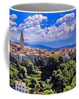 Adriatic Town Of Vrbnik Panoramic View Coffee Mug