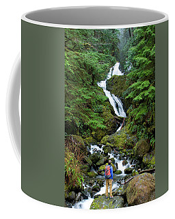 Adult Male Hiker Standing At Base Coffee Mug