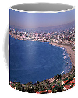 Aerial View Of A City At Coast, Santa Coffee Mug