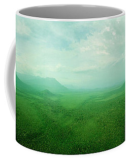 Aerial View Of Green Misty Landscape Coffee Mug
