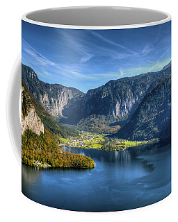 Aerial View Of Halstatter See And Obertraum Coffee Mug