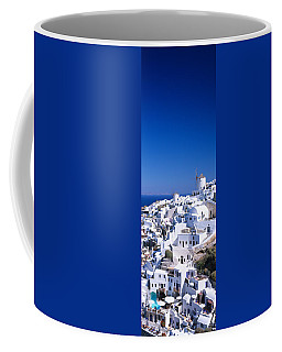 Aerial View Of Houses In A Town, Oia Coffee Mug