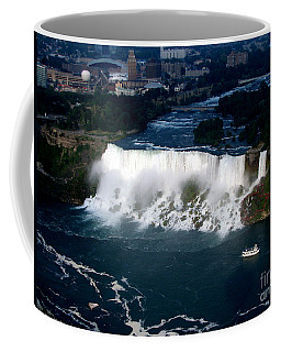Aerial View Of Niagara Falls And River And Maid Of The Mist Coffee Mug