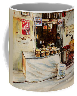 Coffee Mug featuring the painting African Corner Store by Sher Nasser