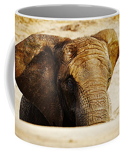 Coffee Mug featuring the photograph African Elephant Behind A Hill by Nick  Biemans