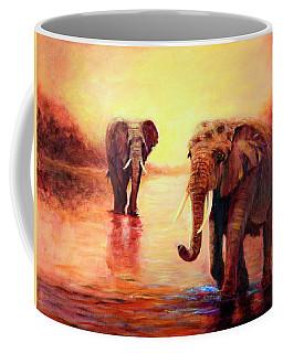African Elephants At Sunset In The Serengeti Coffee Mug