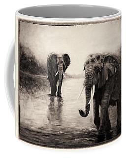 African Elephants At Sunset Coffee Mug