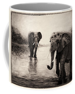 African Elephants At Sunset Coffee Mug