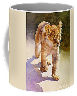 Coffee Mug featuring the painting African Lion Cub by Bonnie Rinier