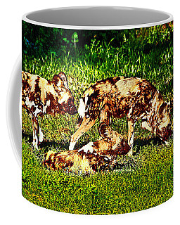 African Wild Dog Family Coffee Mug by Miroslava Jurcik