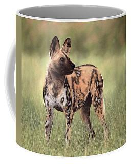 African Wild Dog Painting Coffee Mug by Rachel Stribbling