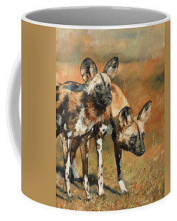 African Wild Dogs Coffee Mug by David Stribbling