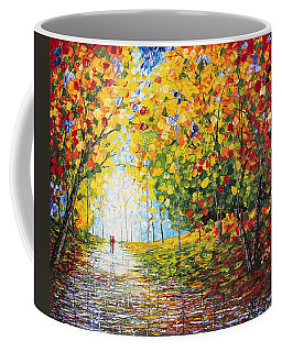 Coffee Mug featuring the painting After Rain Autumn Reflections Acrylic Palette Knife Painting by Georgeta Blanaru