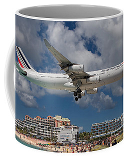 Air France Landing At St. Maarten Coffee Mug by David Gleeson