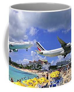 Air France Pano Landing At St Maarten Coffee Mug