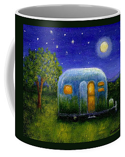 Coffee Mug featuring the painting Airstream Camper Under The Stars by Sandra Estes