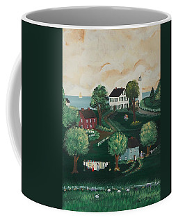 Coffee Mug featuring the painting Airing Out The Quilts by Virginia Coyle