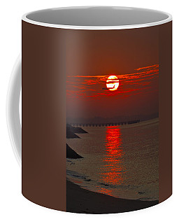 Airplane Flying At Sunrise Coffee Mug