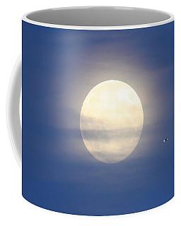 Airplane Flying Into Full Moon Coffee Mug