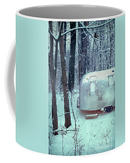 Airstream Trailer In Snowy Woods Coffee Mug by Jill Battaglia
