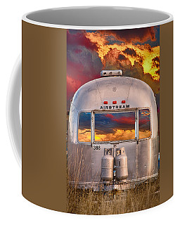 Airstream Travel Trailer Camping Sunset Window View Coffee Mug