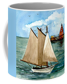 Aj Meerwald Passing Ship John Shoal Lighthouse Coffee Mug by Nancy Patterson