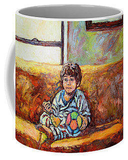 Coffee Mug featuring the painting Alan On The Couch by Kendall Kessler