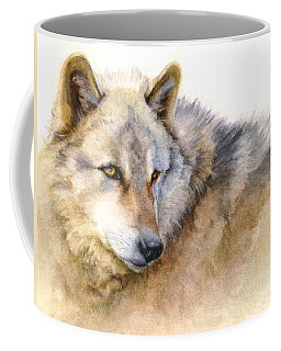 Coffee Mug featuring the painting Alaskan Gray Wolf by Bonnie Rinier