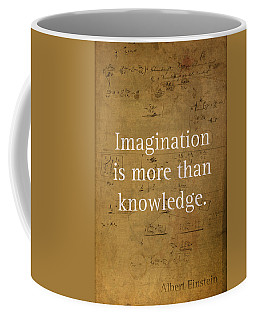 Albert Einstein Quote Imagination Science Math Inspirational Words On Worn Canvas With Formula Coffee Mug