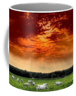Coffee Mug featuring the photograph Alberta Canada Cattle Herd Hdr Sky Clouds Forest by Paul Fearn