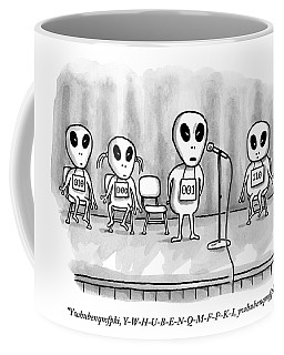Aliens Participating In A Spelling Bee Coffee Mug