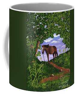 Coffee Mug featuring the painting All Alone by Laura Forde