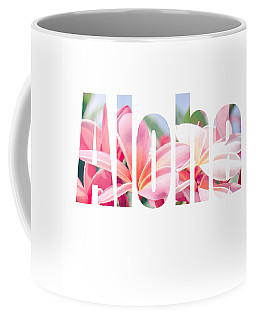 Aloha Tropical Plumeria Typography Coffee Mug
