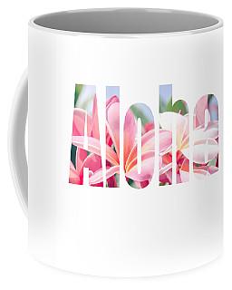 Aloha Tropical Plumeria Typography Coffee Mug