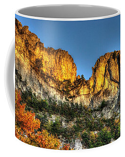 Coffee Mug featuring the photograph Alpenglow At Days End Seneca Rocks - Seneca Rocks National Recreation Area Wv Autumn Early Evening by Michael Mazaika