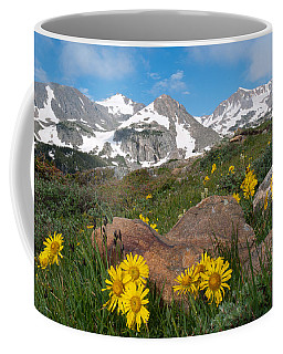 Coffee Mug featuring the photograph Alpine Sunflower Mountain Landscape by Cascade Colors