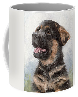 Alsatian Puppy Painting Coffee Mug by Rachel Stribbling