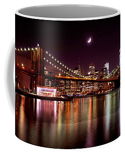 Amazing New York Skyline And Brooklyn Bridge With Moon Rising Coffee Mug